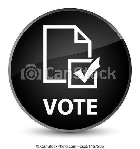 Vote (survey icon) elegant black round button - csp51457285