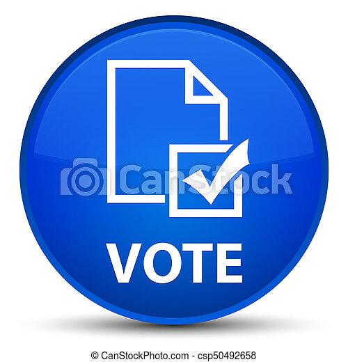 Vote (survey icon) special blue round button - csp50492658