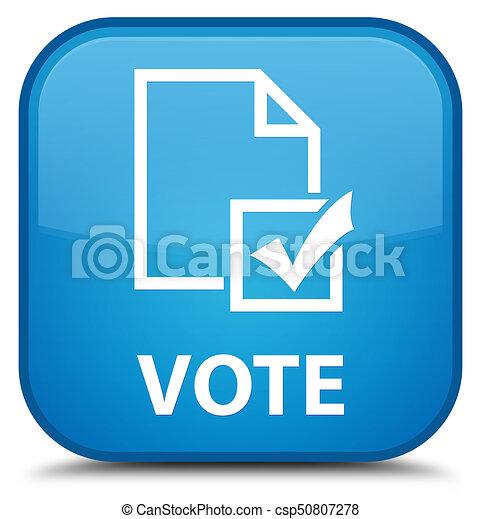 Vote (survey icon) special cyan blue square button - csp50807278