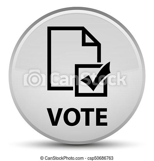 Vote (survey icon) special white round button - csp50686763