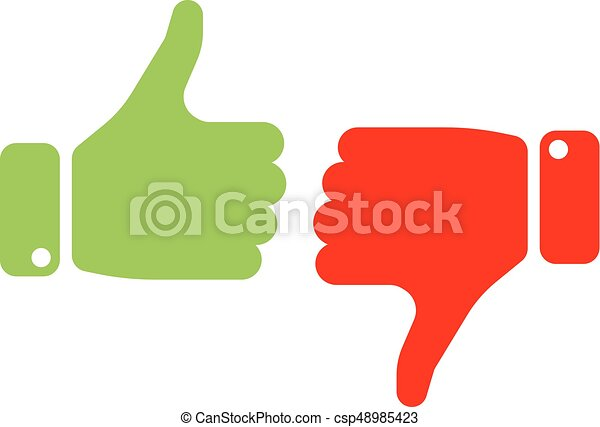 Vote thumbs up icon in red and green . Make a choice, yes or no, love it or hate it, like or dislike win or loss. Vector illustration - csp48985423