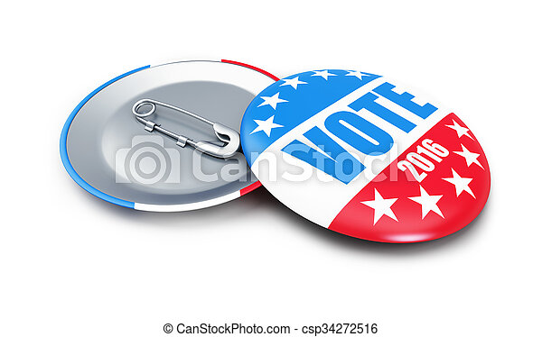 vote USA 2016 badge 3d Illustrations on a white background - csp34272516