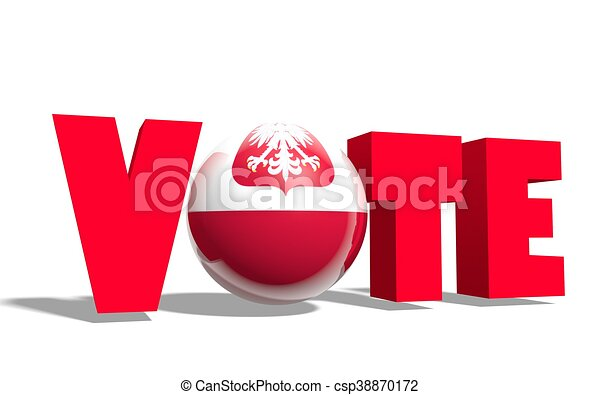vote word with poland national flag image relative to voting or