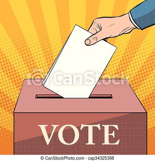 Voter Ballot Box Politics Elections Pop Art Retro Style Ballot