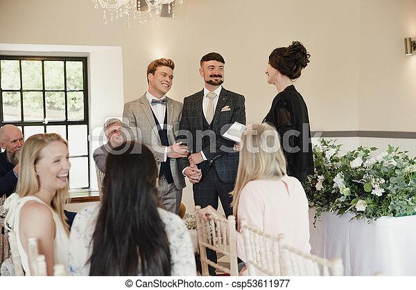 voti, uomini, due, loro, matrimonio, scambiare, giorno - csp53611977