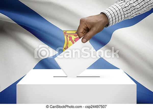 Voting concept - Ballot box with Canadian province flag on background - Nova Scotia - csp24497507