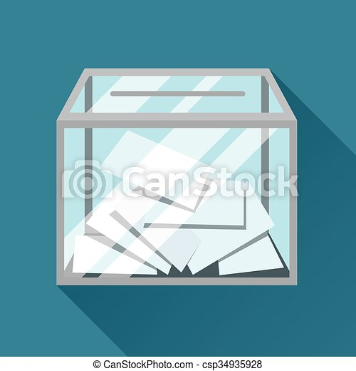 Voting papers in ballot box. Political elections illustration for banners, web sites, banners and flayers - csp34935928