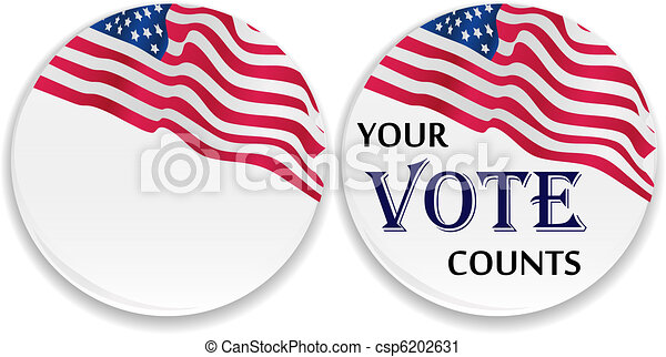 Voting pins with US flag - csp6202631
