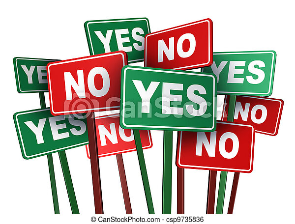 Voting Yes Or No - csp9735836