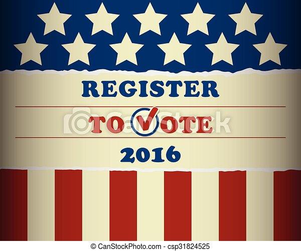 voto, 2016, eua, registo - csp31824525