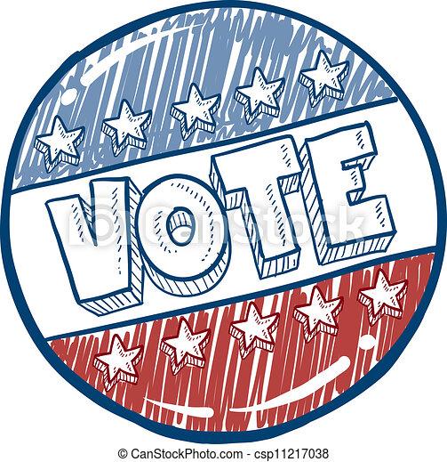 voto, botão, esboço, campanha - csp11217038