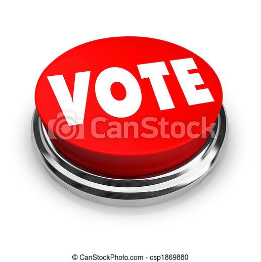 voto, botão, -, vermelho - csp1869880
