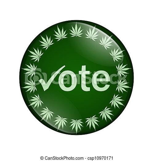 voto, botón, legalize, marijuana - csp10970171