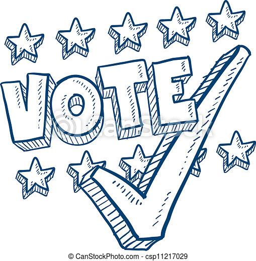 voto, esboço, confira mark - csp11217029