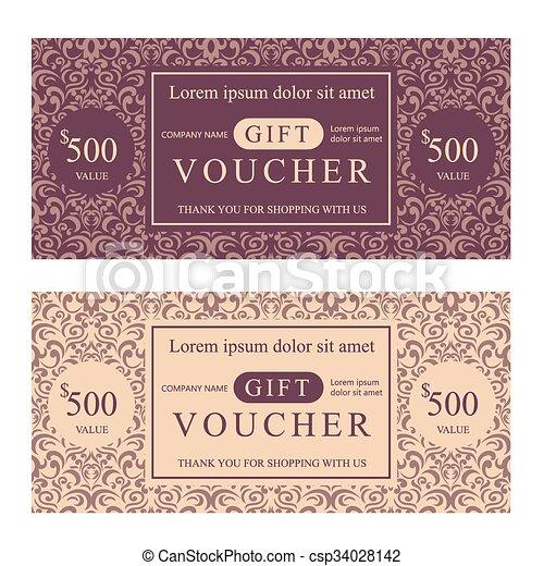 voucher design template elegant gift voucher template with damask