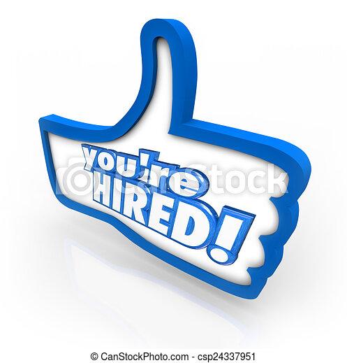 vous êtes, symbole, haut, loué, pouces, mots, entrevue, approbation, accepté - csp24337951