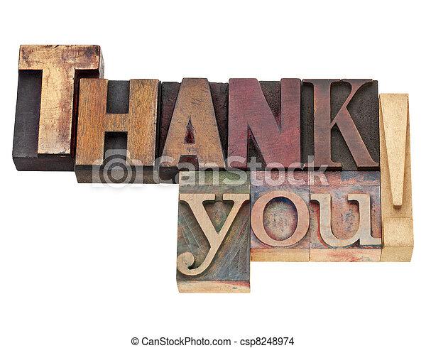 vous, type, remercier, letterpress - csp8248974