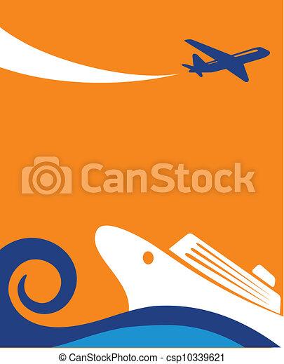 voyage, -, avion, fond, croisière - csp10339621