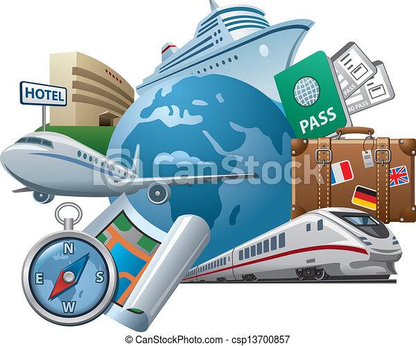 voyage, concept, icône - csp13700857