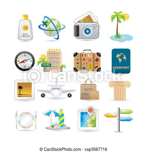voyage, ensemble, icône - csp3567716