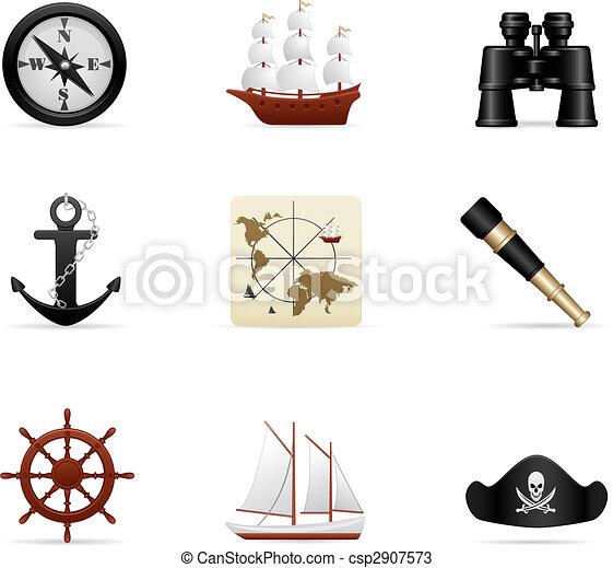 voyage, ensemble, naval, icône - csp2907573