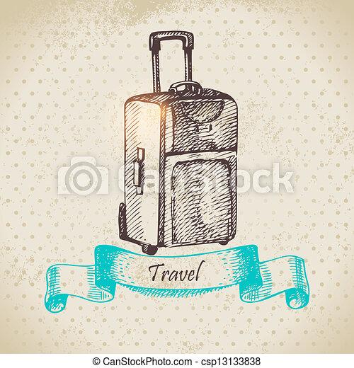 voyage, illustration, fond, suitcase., vendange, main, dessiné - csp13133838