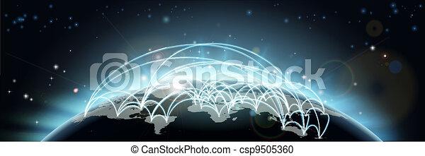 voyage mondial, ou, communications, carte - csp9505360