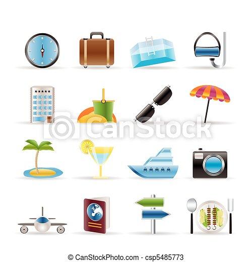 voyage, tourisme, voyage, icônes - csp5485773