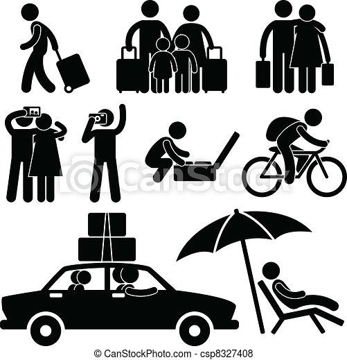 voyage vacances, voyage, famil, touriste - csp8327408