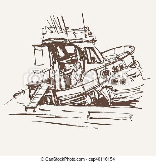 Voyage Vecteur Croquis Bateau Schema Encre Marin Illustration Canstock