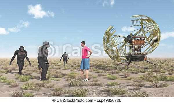 voyageur, homo, machine temps, habilis - csp49826728