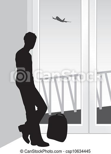 Voyageur silhouette anticipation silhouette - Voyageur dessin ...