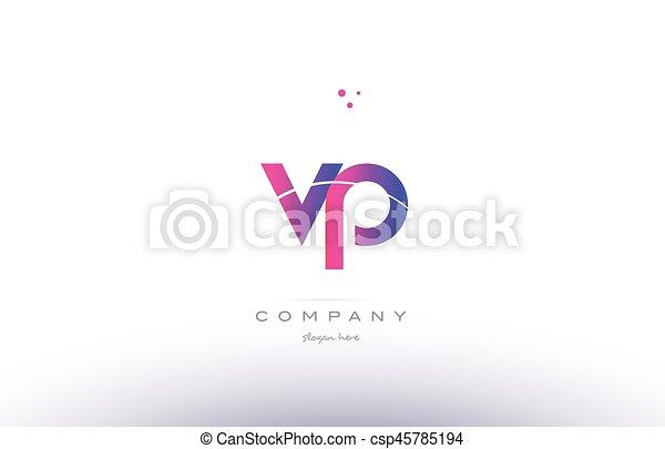 Vp V P Pink Modern Creative Alphabet Letter Logo Icon Template