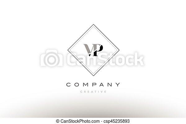 Vp V P Retro Vintage Black White Alphabet Letter Logo Vp V P