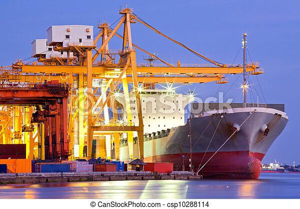 vrachtschip, industriebedrijven, container - csp10288114