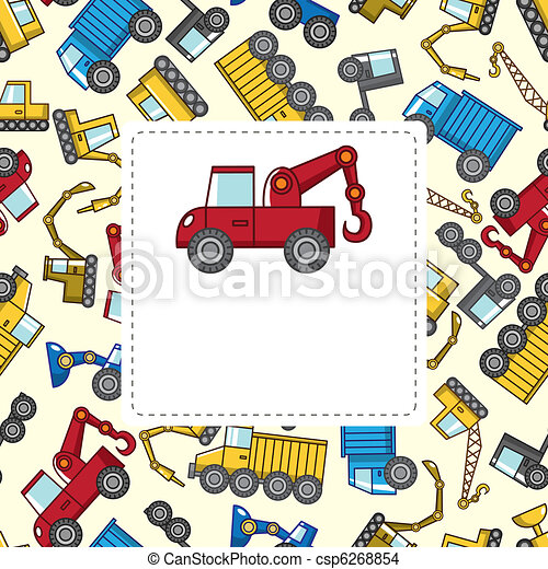 vrachtwagen, spotprent, kaart - csp6268854