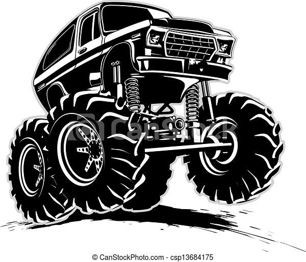 vrachtwagen, spotprent, monster - csp13684175
