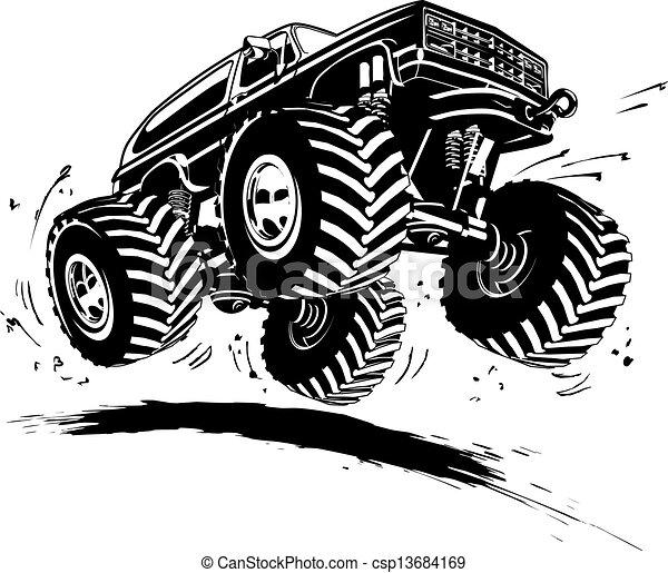 vrachtwagen, spotprent, monster - csp13684169