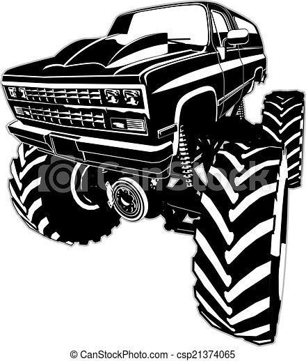 vrachtwagen, spotprent, monster - csp21374065
