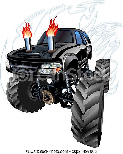 vrachtwagen, spotprent, monster - csp21497068
