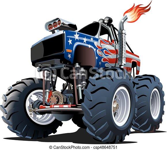 vrachtwagen, spotprent, monster - csp48648751