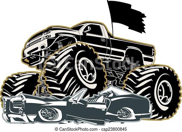 vrachtwagen, spotprent, monster - csp23800845