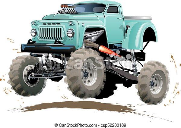 vrachtwagen, spotprent, monster - csp52200189