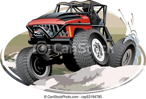 vrachtwagen, spotprent, monster - csp53184780