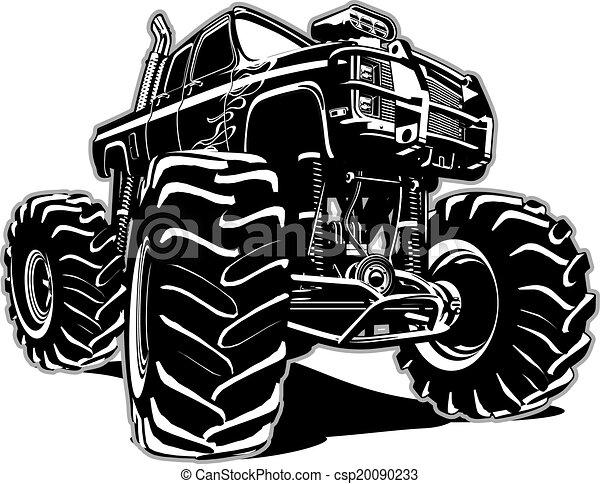 vrachtwagen, spotprent, monster - csp20090233