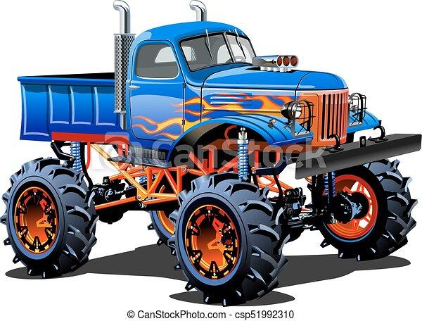 vrachtwagen, spotprent, monster - csp51992310