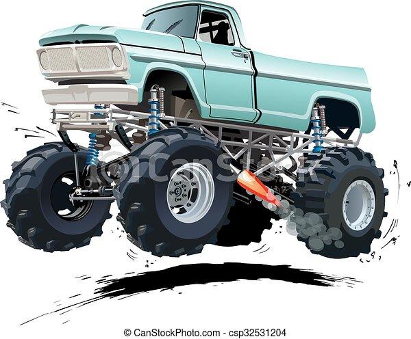vrachtwagen, spotprent, monster - csp32531204