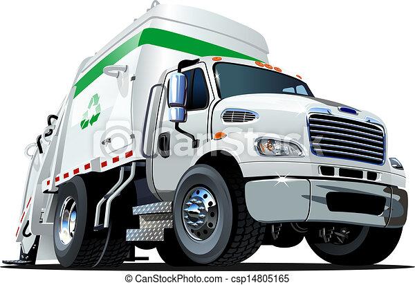 vrachtwagen, spotprent, restafval - csp14805165