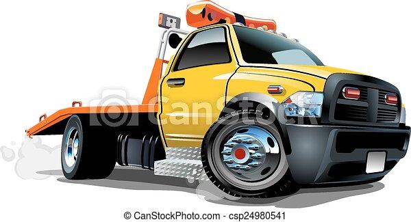 vrachtwagen, spotprent, trekken - csp24980541
