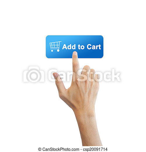 vrai, bouton, isolé, main, e-commerce, fond, blanc - csp20091714